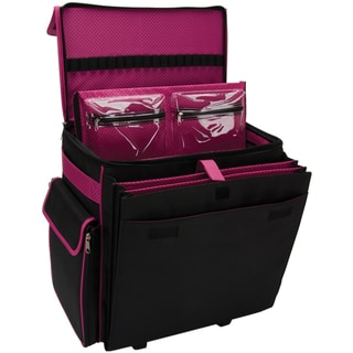 Mackinac Moon Black / Pink Dots Deluxe Rolling Tote