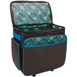 Mackinac Moon Chocolate / Teal Basic Rolling Tote