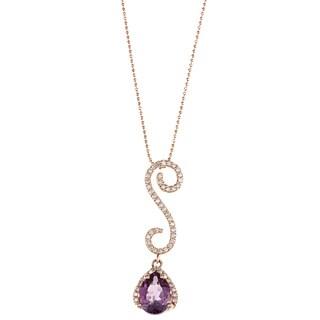 14k Rose Gold Amethyst and 1/4ct TDW Diamond Necklace (I-J, I1-I2)