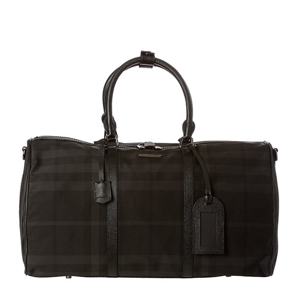 Burberry Large Black Nylon Beat Check Duffle Bag