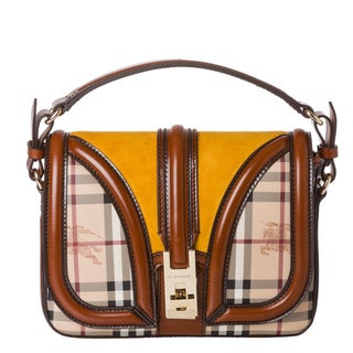 Burberry Small Haymarket Mustard Suede Panel Cross-body Bag