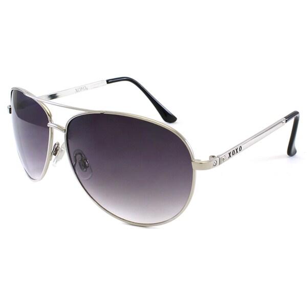 XOXO Women's 'Venezia' SIlver Aviator Sunglasses