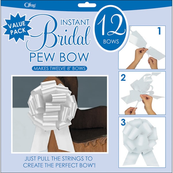 Perfect Bow 8-inch White Bows (Pack of 12)