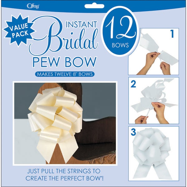Perfect Bow 8-inch Ivory Bows (Pack of 12)