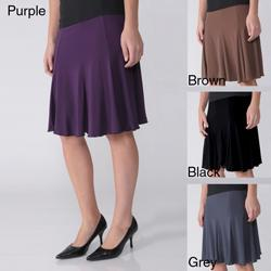 Journee Collection Women's Elastic Waist Stretch Knit Flare Skirt