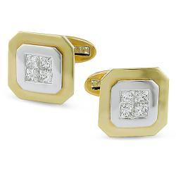 Miadora 18k Two-tone Gold 1 1/5ct TDW Diamond Cuff Links (G-H, SI1-SI2)