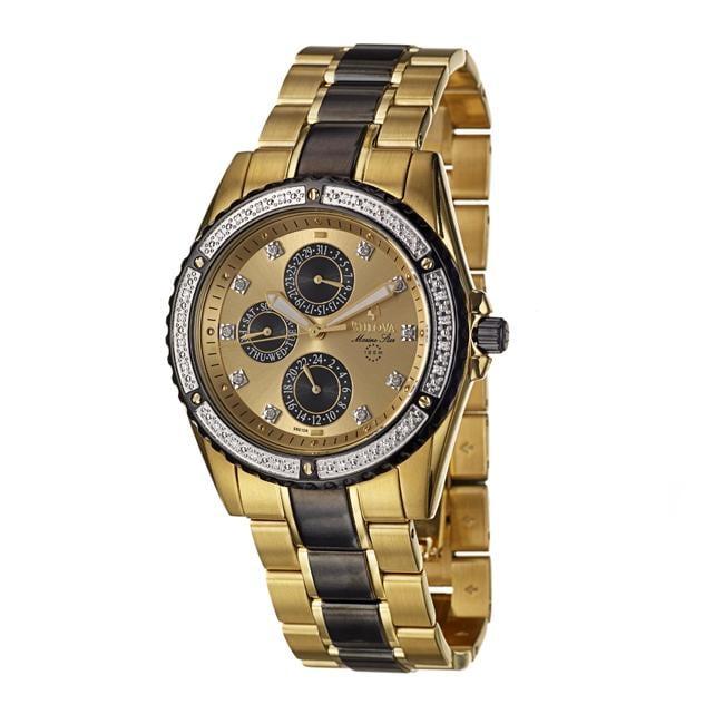 Bulova Mens Marine Star Goldplated Steel Quartz Diamond Watch