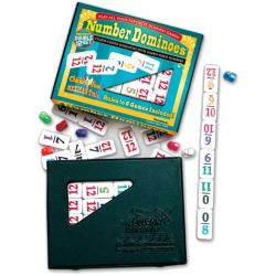 Large Number Dominoes Premium Double 12 Set with Snap-shut Case