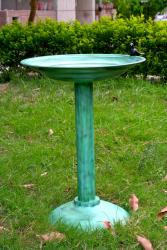 Unique Arts Tall Birdbath - Verdigris Finish