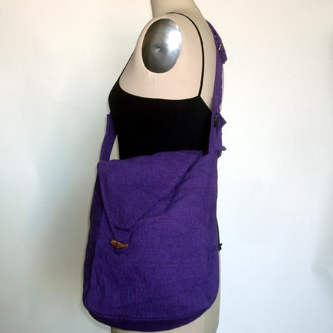 Cotton Solid-colored Shoulder Bag (Nepal)