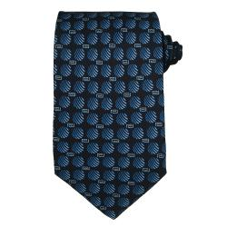 Versace Men's Greek Key with Striped Circles Silk Tie