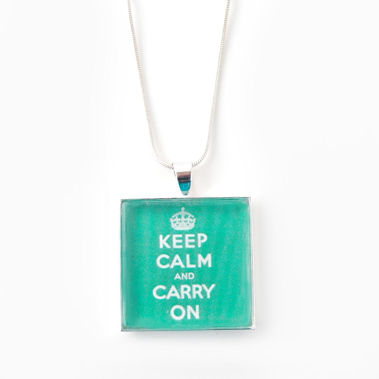 Silverplated Green 'Keep Calm and Carry On' Necklace