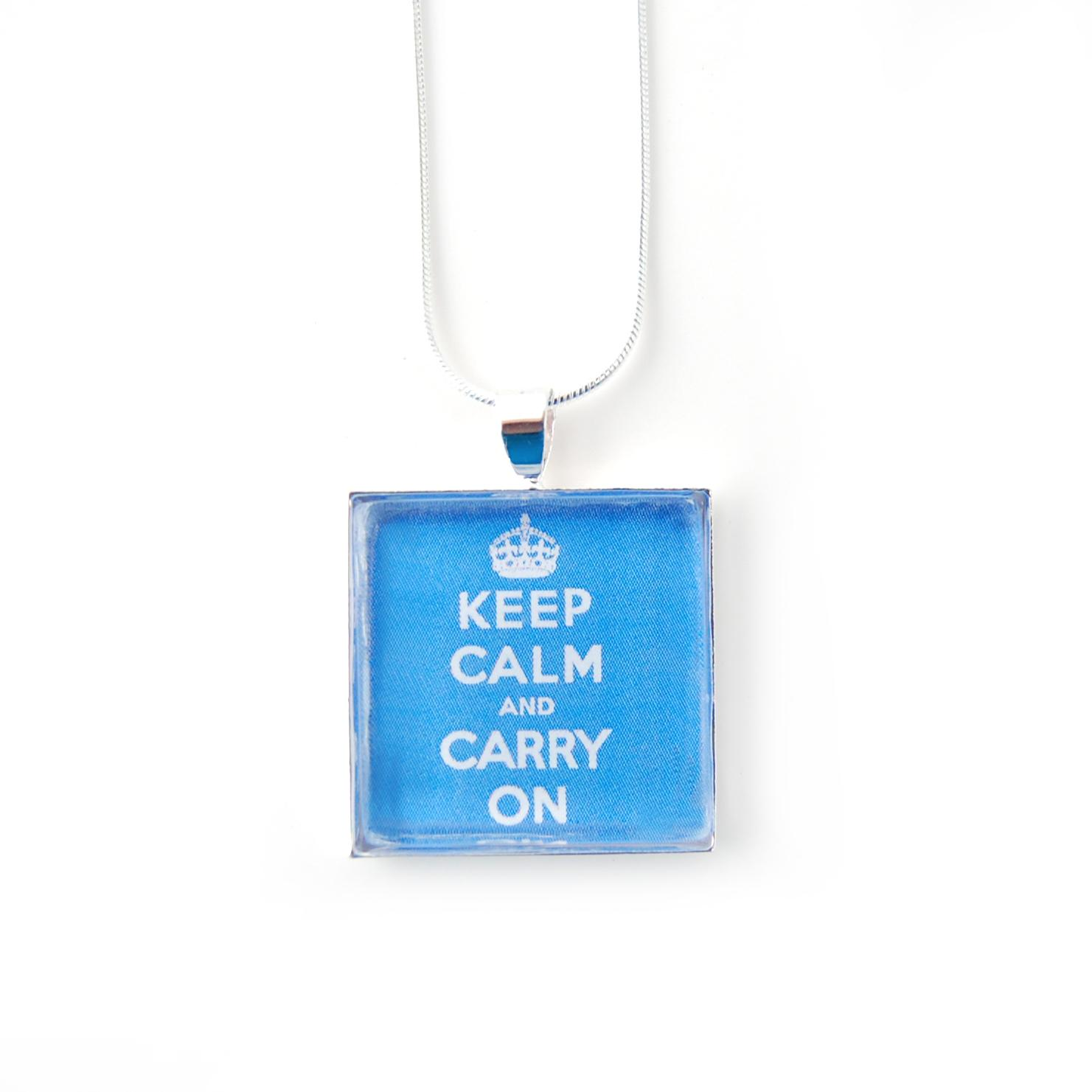 Silverplated Blue 'Keep Calm and Carry On' Necklace