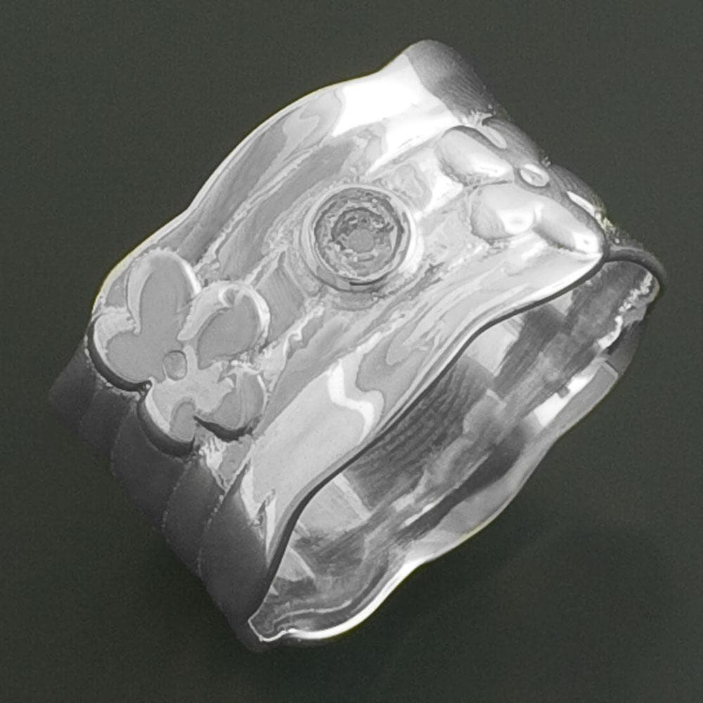Sterling Silver Cubic Zirconia Flower Ring (India)