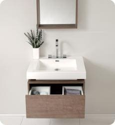 Fresca Potenza Grey Oak Bathroom Vanity with Pop-open Drawer