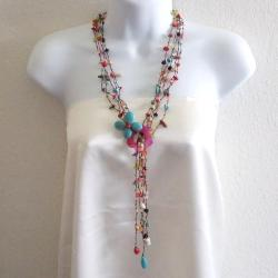 Cotton Butterfly on Flower Gemstones Lariat Wrap Necklace (Thailand)