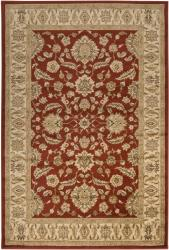 Loomed Free Form Red Border Rug (7'9 x 11'12)
