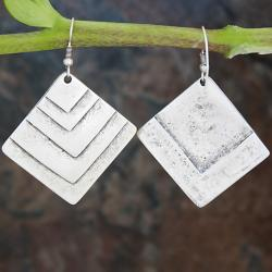 Silverplated Pewter Square Steps Dangle Earrings (Turkey)