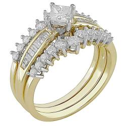 Miadora 14k Two-tone Gold 1ct TDW Diamond Bridal Ring Set (G-H, I1-I2)