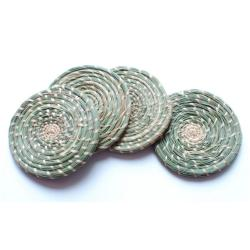 Set of 4 Natural and Grey Woven Coasters (Rwanda)