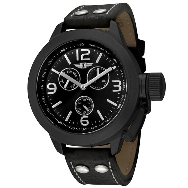 I by Invicta Men's Black Dial Black Leather Watch