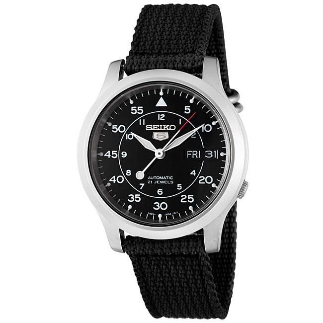 Seiko Men's 'Seiko 5' Black Dial Black Fabric Automatic Watch