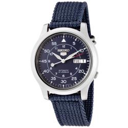 Seiko Men's 'Seiko 5' Blue Dial Blue Fabric Automatic Watch