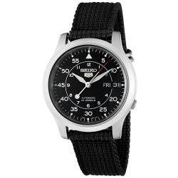 Seiko Men's 'Seiko 5' Black Dial Black Fabric Automatic Watch