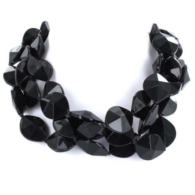 West Coast Jewelry Silvertone Faceted Bead Double Strand Necklace