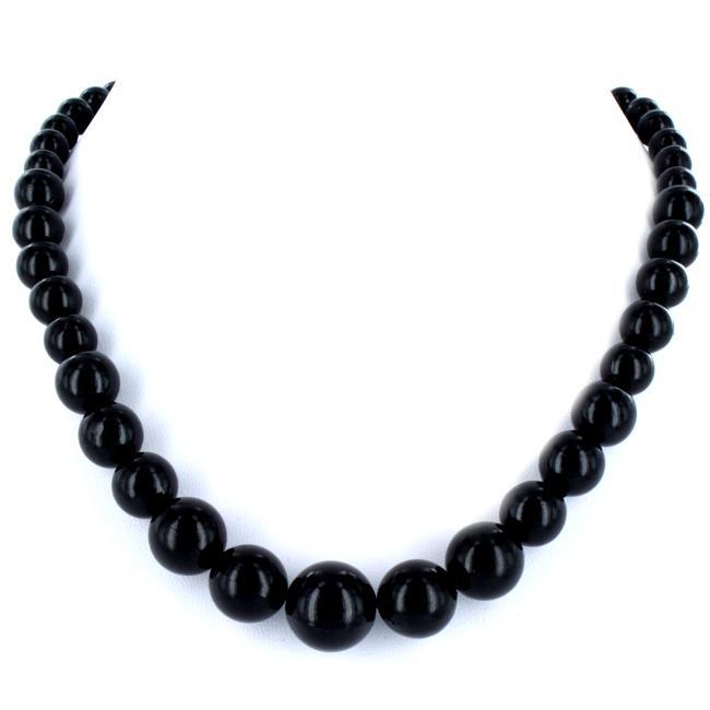 West Coast Jewelry Silvertone Graduated Black Faux Pearl Necklace