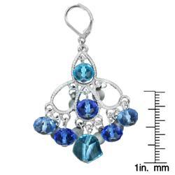 West Coast Jewelry Silvertone Blue Stone Chandelier Earrings