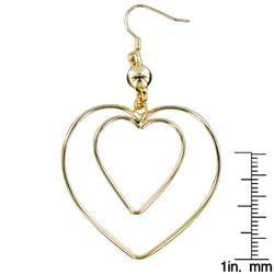 West Coast Jewelry Goldtone 'Heart Within a Heart' Wire Dangle Earrings