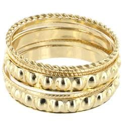 West Coast Jewelry Goldtone 5-piece Stackable Textured Bangle Set