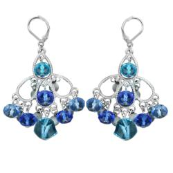 West Coast Jewelry Silvertone Blue Stone Chandelier Earrings