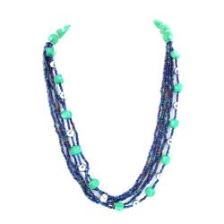 West Coast Jewelry Silvertone Multi-strand Blue Beaded Necklace
