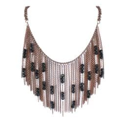 Bronze-colored Chain Link and Black Bead Bib Necklace
