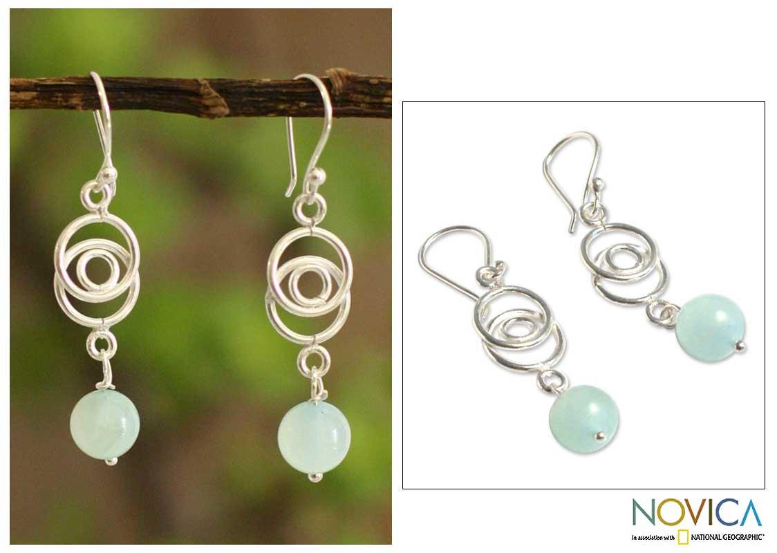 Sterling Silver Opal 'Friendship Chain' Earrings (Peru)