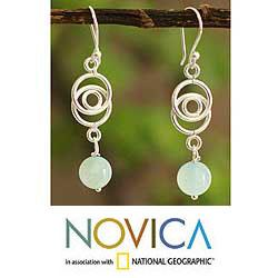Sterling Silver Opal 'Friendship Chain' Earrings (Peru)
