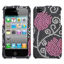 Premium Apple iPhone 4 Tulip Flowers Rhinestone Case