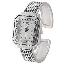 Geneva Women's 'Platinum' Beaded Cuff Watch