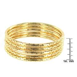 West Coast Jewelry Goldtone Textured Dotted Hole 5-pc Bracelet Set