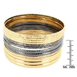 West Coast Jewelry Gold and Blackplated Stackable Bangle Bracelet 12-pc Set