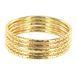 Goldtone Textured Dotted Hole 5-pc Bracelet Set