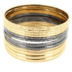 Gold and Blackplated Stackable Bangle Bracelet 12-pc Set