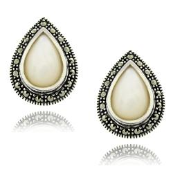 Sterling Silver Marcasite and Mother of Pearl Earrings
