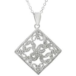 Sterling Silver 1/3ct TDW Diamond Flower Necklace (I-J, I2-I3)