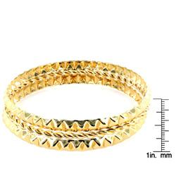 West Coast Jewelry Goldtone Stackable 3-piece Faceted Bangle Set