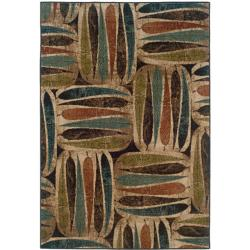 Beige Leaf Abstract Rug (5' x 7'6)