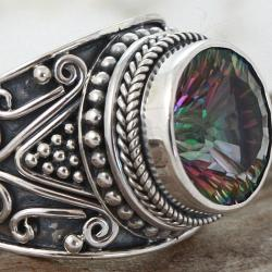 Sterling Silver Round Exotic Fire Quartz Princess Ring (Indonesia)