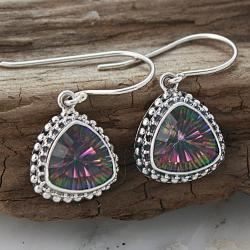 Silver Mystic Quartz Small Trillion Bali Earrings (Indonesia)